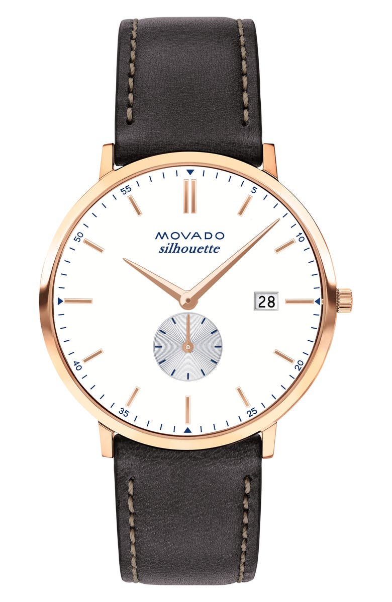 MOVADO Heritage Silhouette Leather Strap Watch, 40mm, Main, color, 200