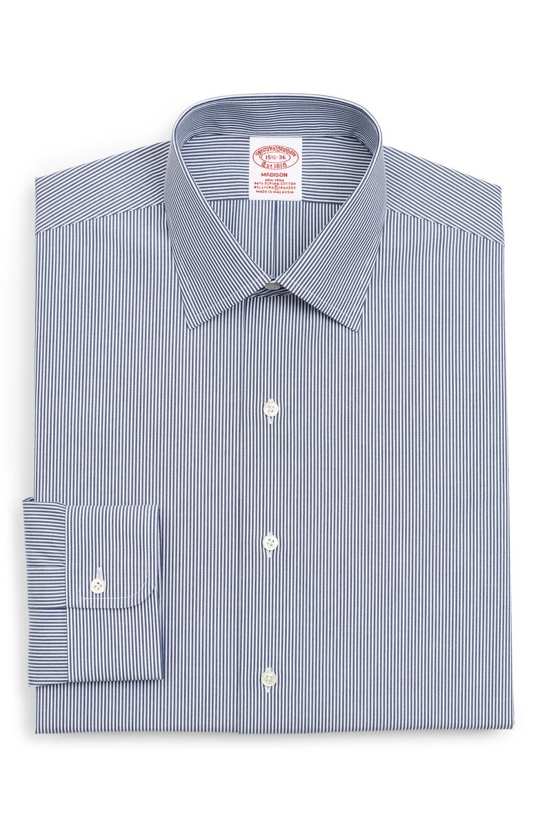 BROOKS BROTHERS Madison Classic Fit Stripe Dress Shirt, Main, color, DARK BLUE