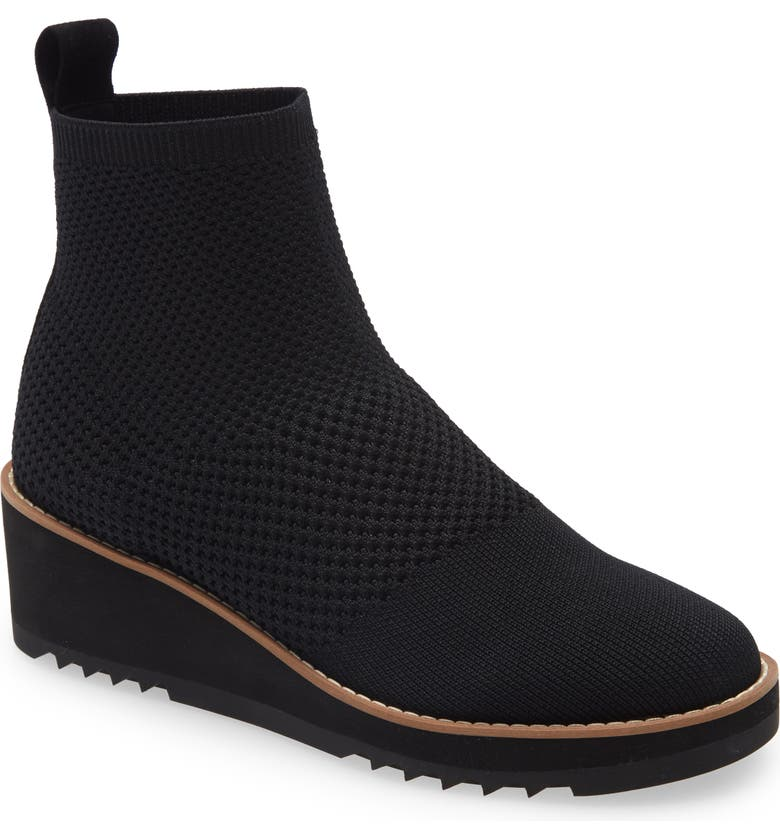 EILEEN FISHER London Bootie, Main, color, BLACK STRETCH FABRIC