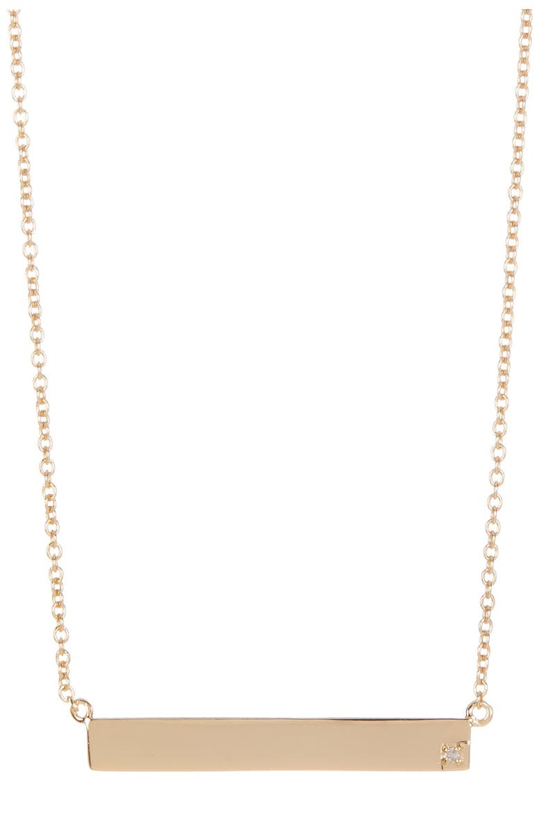 ADORNIA 14K Yellow Gold Plated Sterling Silver Diamond Bar Pendant Necklace - 0.01 ctw, Main, color, YELLOW