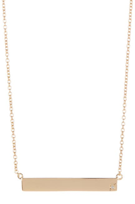 Image of ADORNIA 14K Yellow Gold Plated Sterling Silver Diamond Bar Pendant Necklace - 0.01 ctw