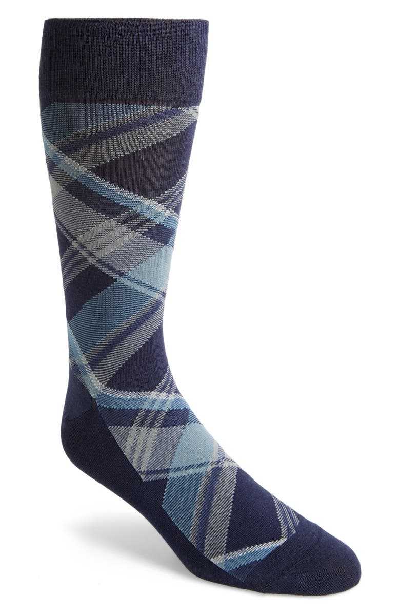 COLE HAAN Plaid Socks, Main, color, MARINE BLUE