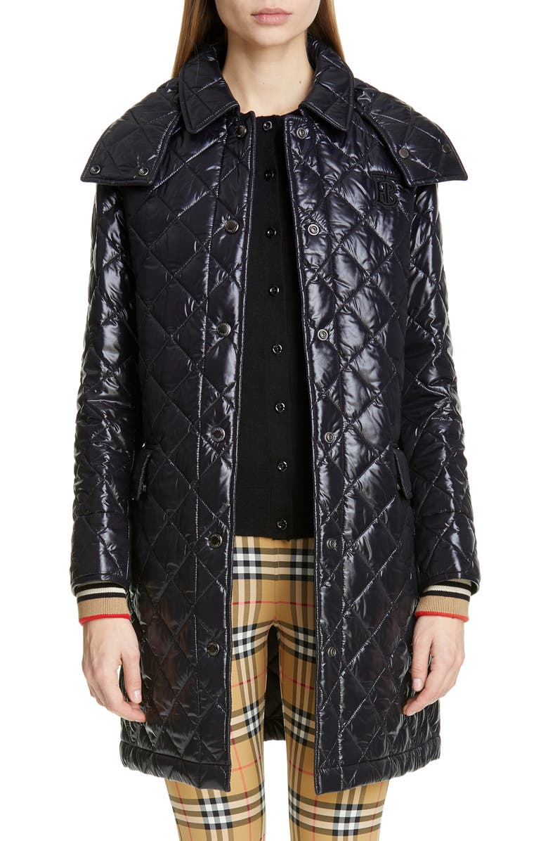 Dereham Monogram Logo Knit Cuff Quilted Coat by Burberry