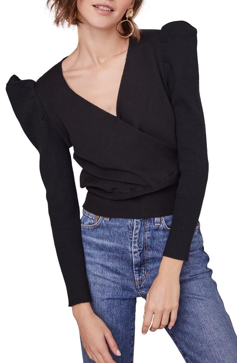 ASTR THE LABEL Suki Surplice Puff Shoulder Sweater, Main, color, BLACK
