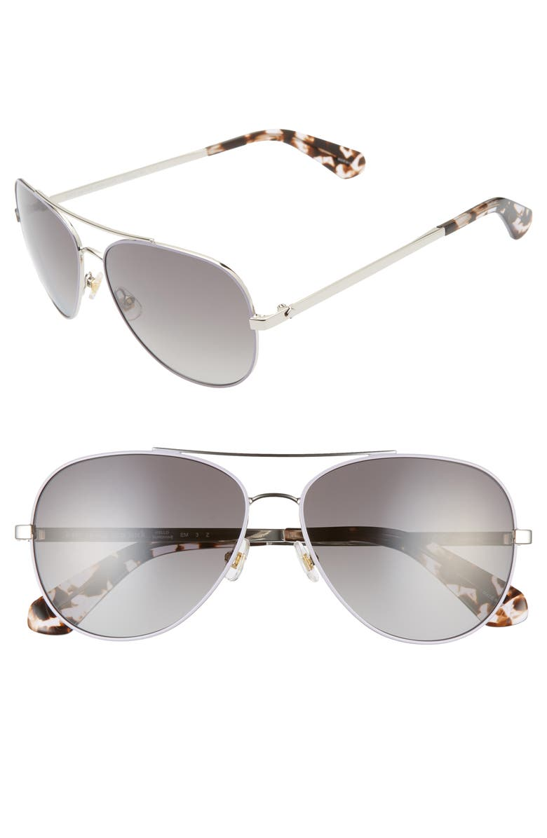 KATE SPADE NEW YORK avaline 2 58mm polarized aviator sunglasses, Main, color, 040