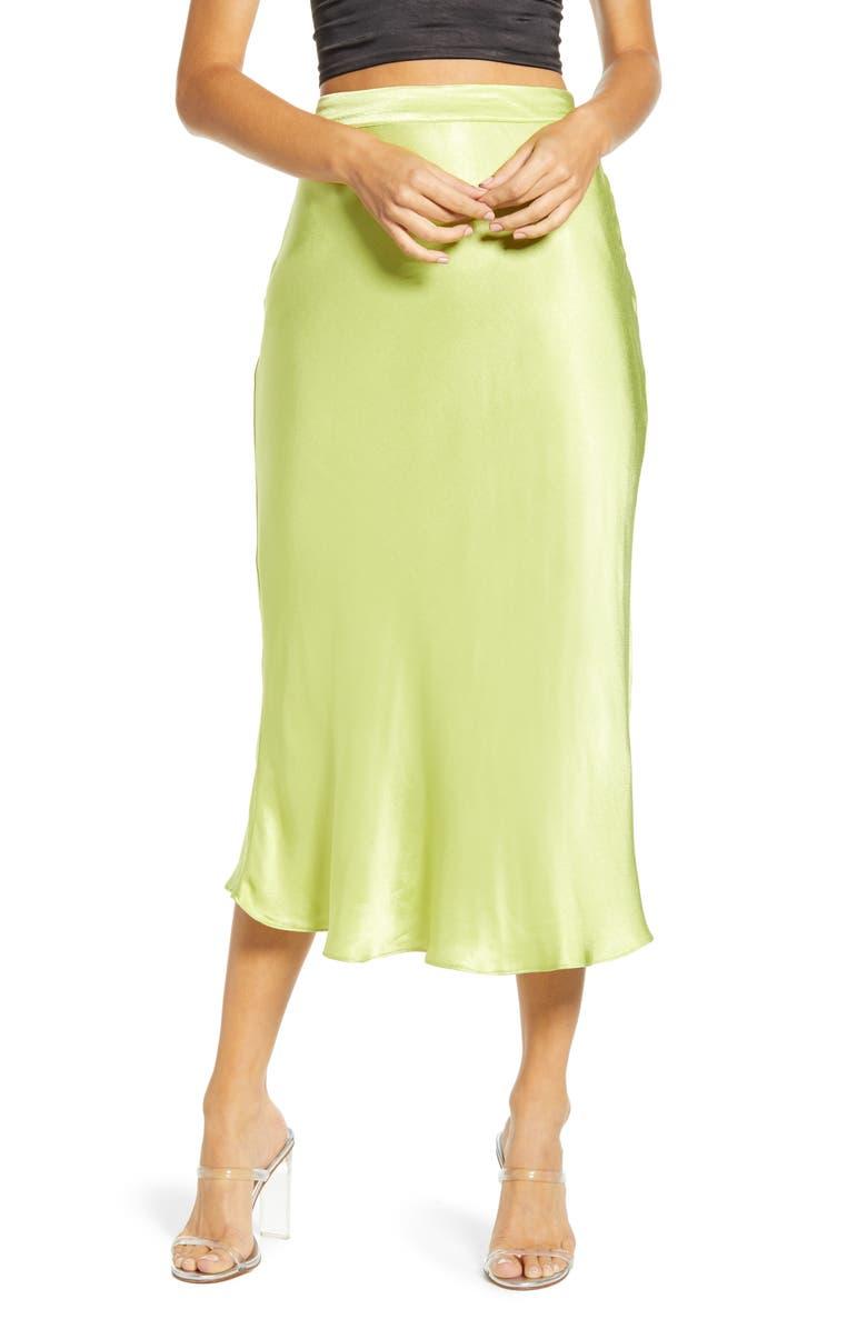 ENGLISH FACTORY Flare Midi Skirt, Main, color, LIME