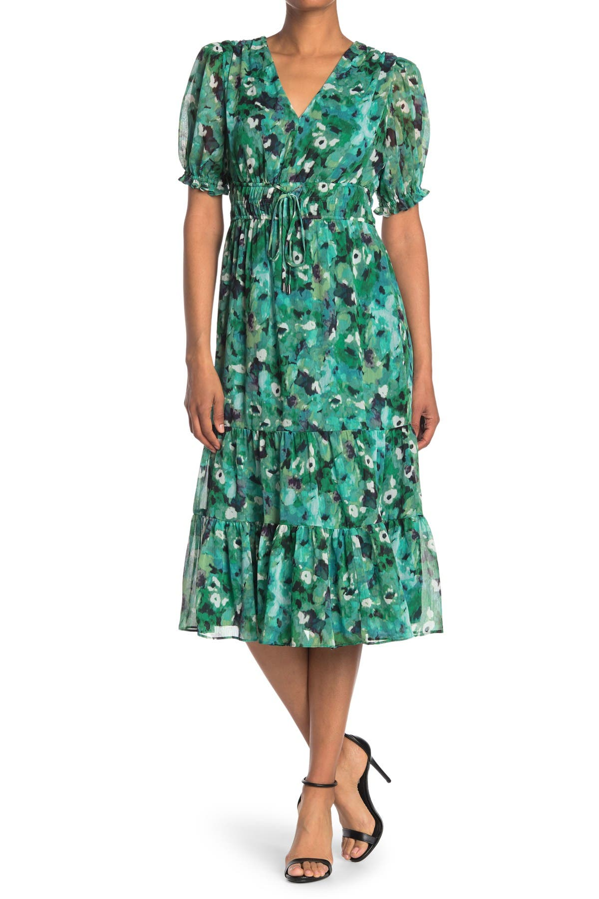 Image of Maggy London Double Elastic Waist Dress w/ Tiered Skirt