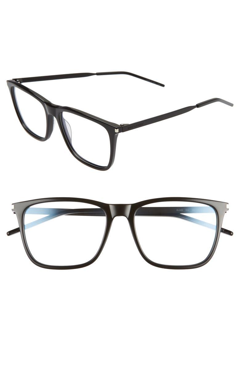 SAINT LAURENT 55mm Optical Glasses, Main, color, BLACK W BLACK
