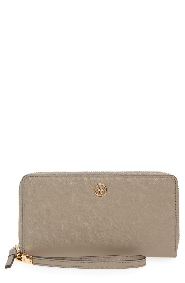 TORY BURCH Robinson Zip Leather Continental Wallet, Main, color, GRAY HERON