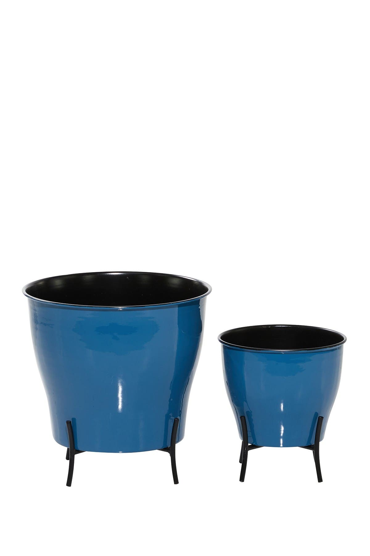 Image of Willow Row Round Blue Enamel Metal Planters with Gold Inlay and Stand - Set of 2