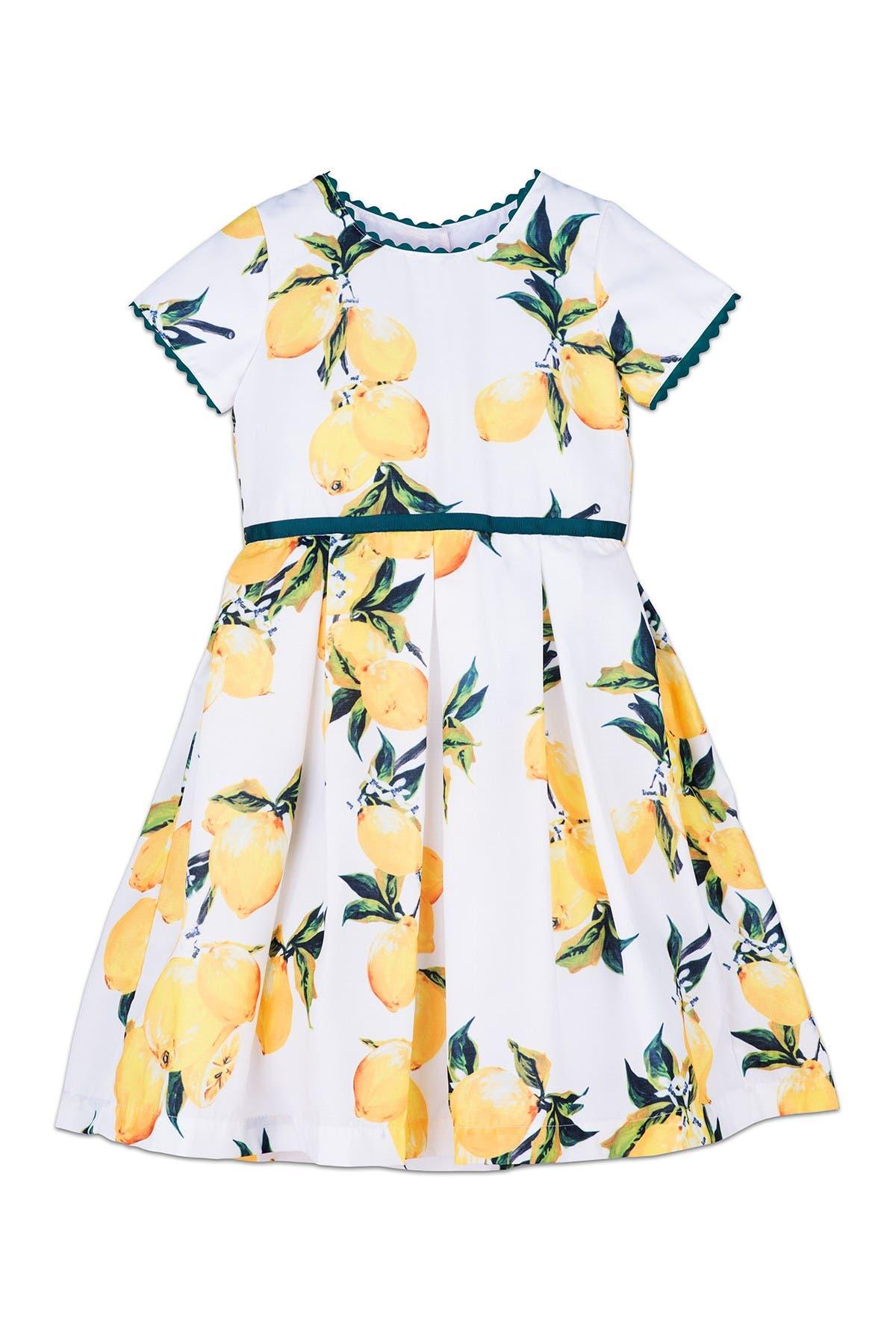 Image of Joe-Ella Lemona Lemon Print Cotton Dress