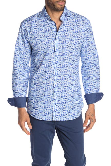 Image of Bugatchi Abstract Print Shaped Fit Shirt