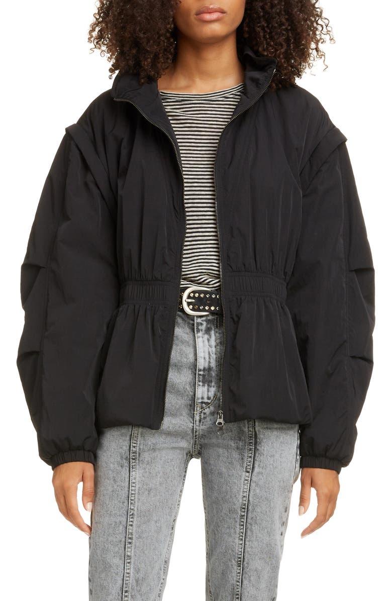 ISABEL MARANT ÉTOILE Dastya Convertible Jacket, Main, color, BLACK