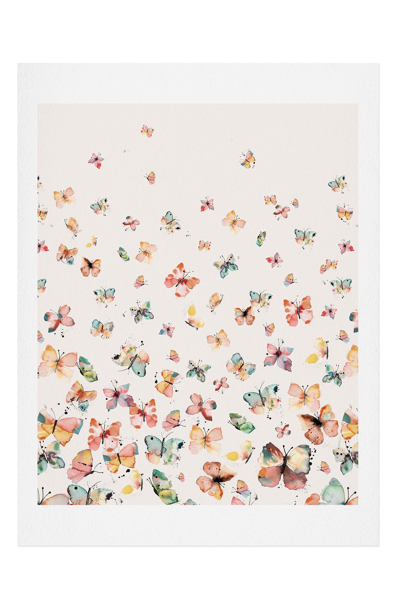 Deny Designs Ninola Design Butterflies Countryside Art Print In Multi