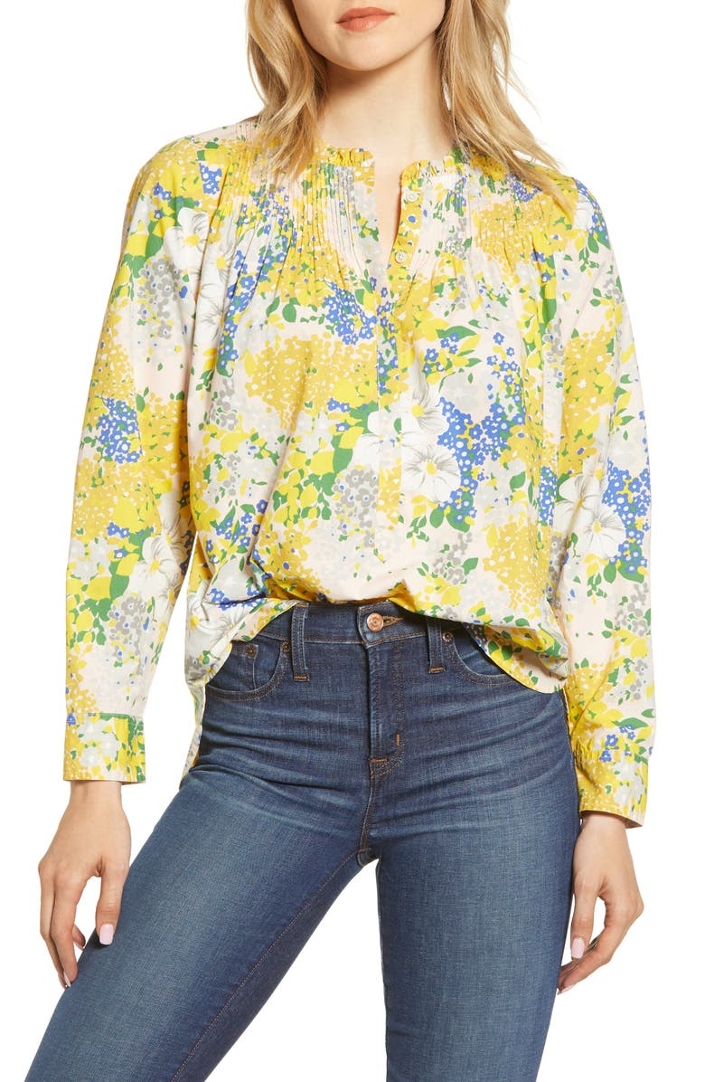 J.CREW Ruffle Classic Popover Shirt, Main, color, TAMARA FLORAL SUBTLE PINK GOLD