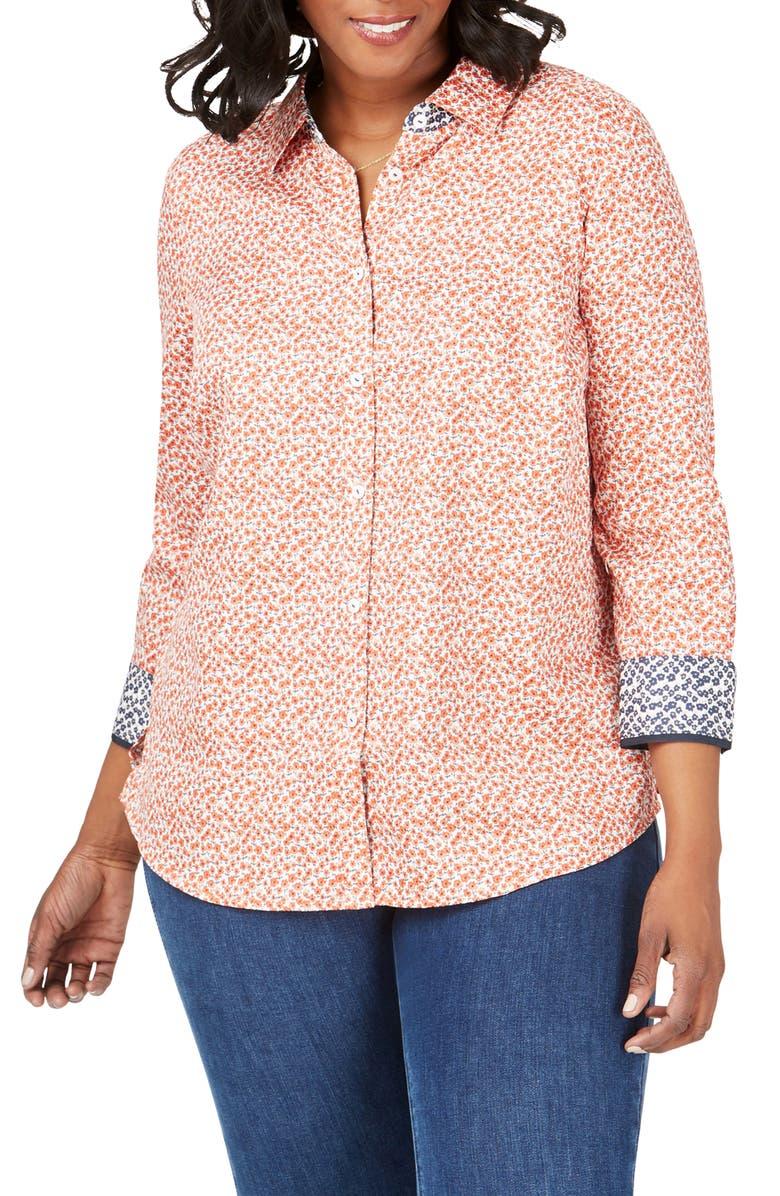 FOXCROFT Ava Ditsy Floral Print Shirt, Main, color, TERRACOTTA