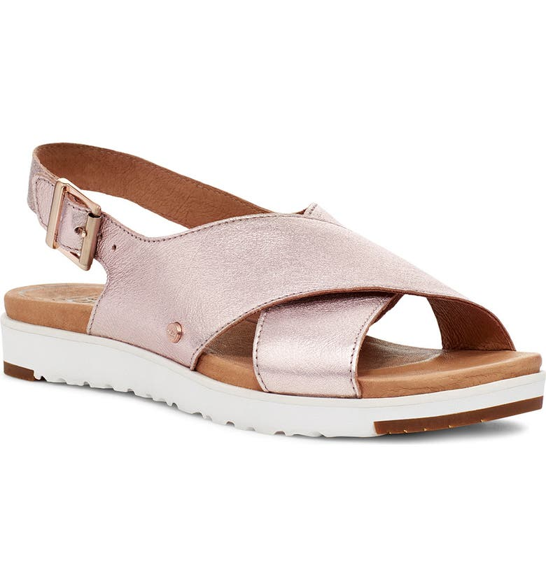 UGG<SUP>®</SUP> Kamile Slingback Sandal, Main, color, BLUSH METALLIC LEATHER
