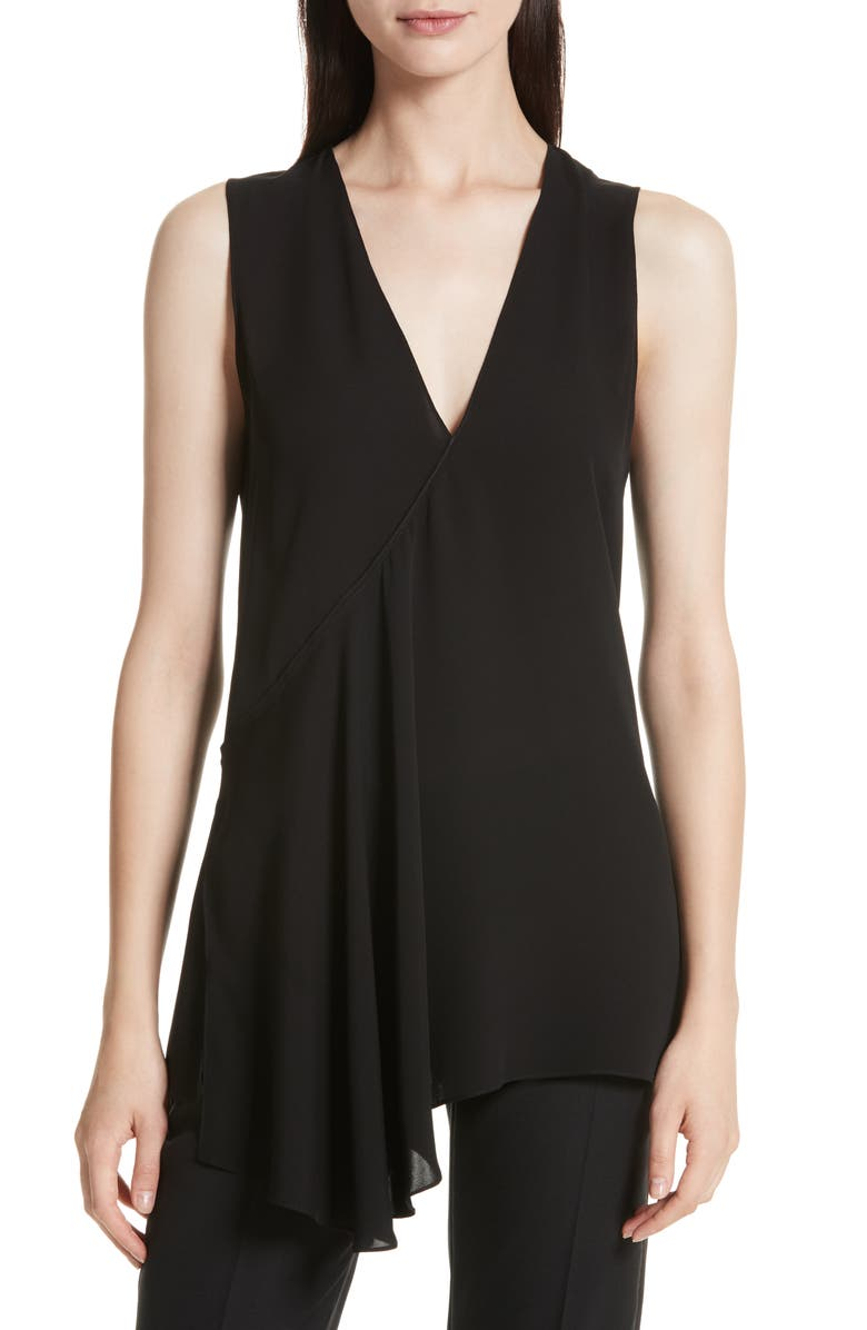 THEORY Fluid Silk Georgette Top, Main, color, 001