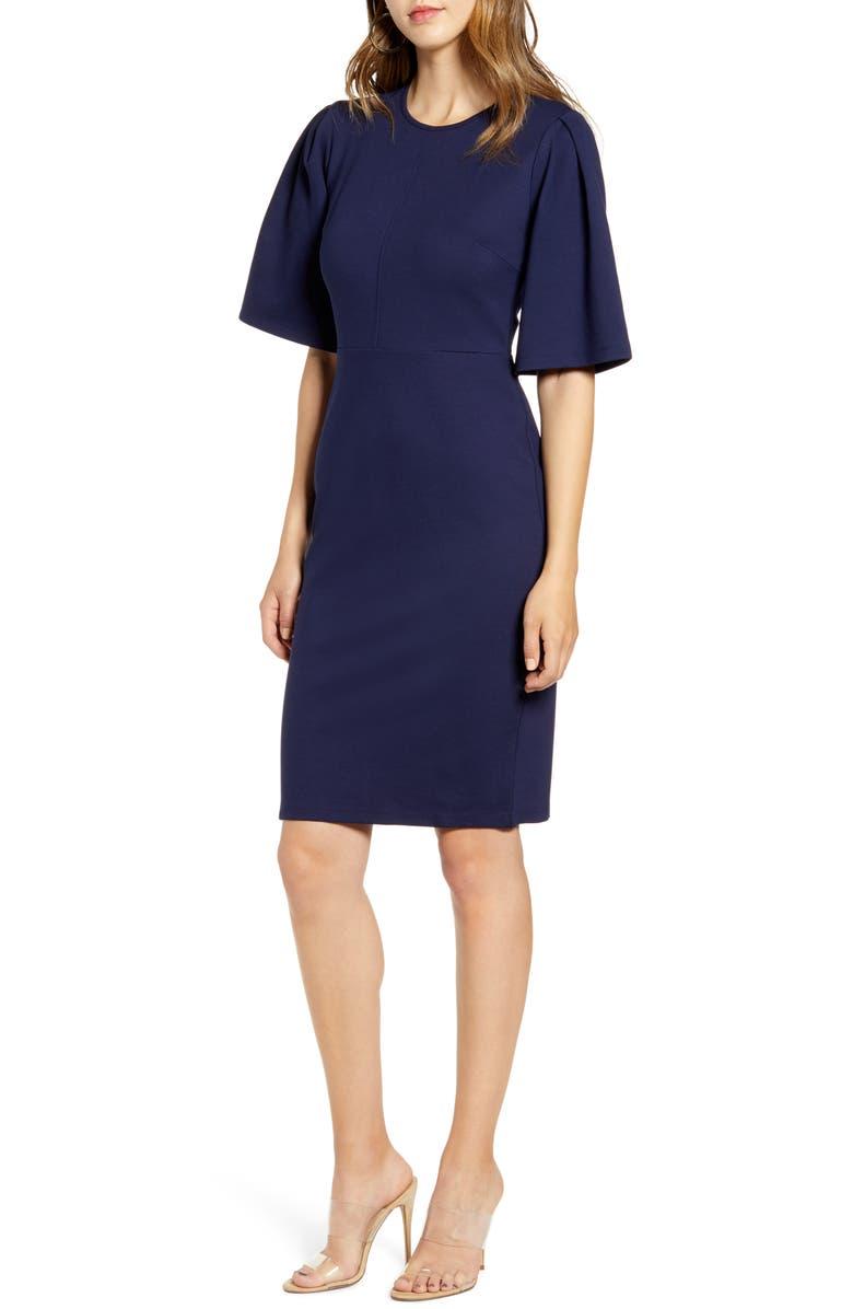 RACHEL PARCELL Flutter Sleeve Ponte Dress, Main, color, NAVY PEACOAT