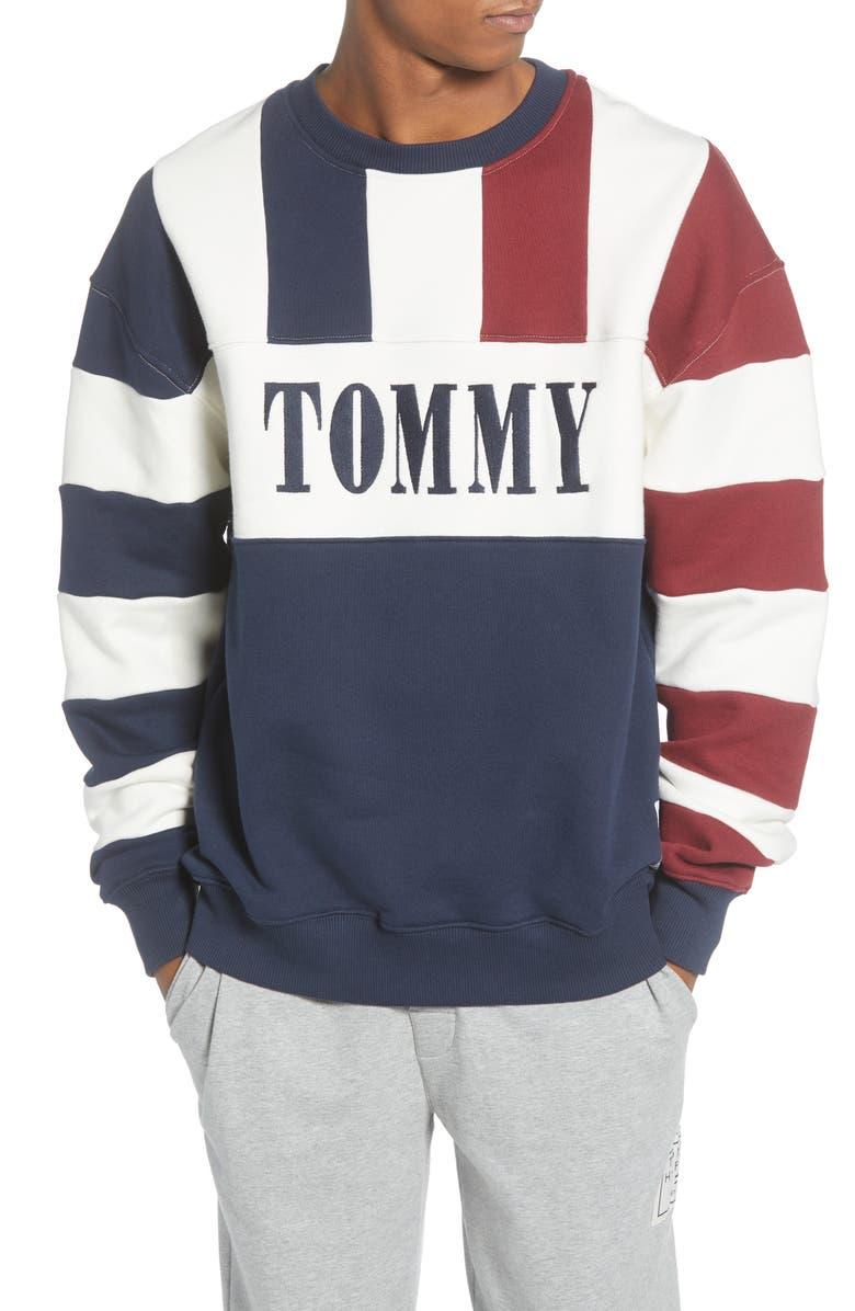 TOMMY JEANS TJM Heritage Stripe Crewneck Sweatshirt, Main, color, BLUE