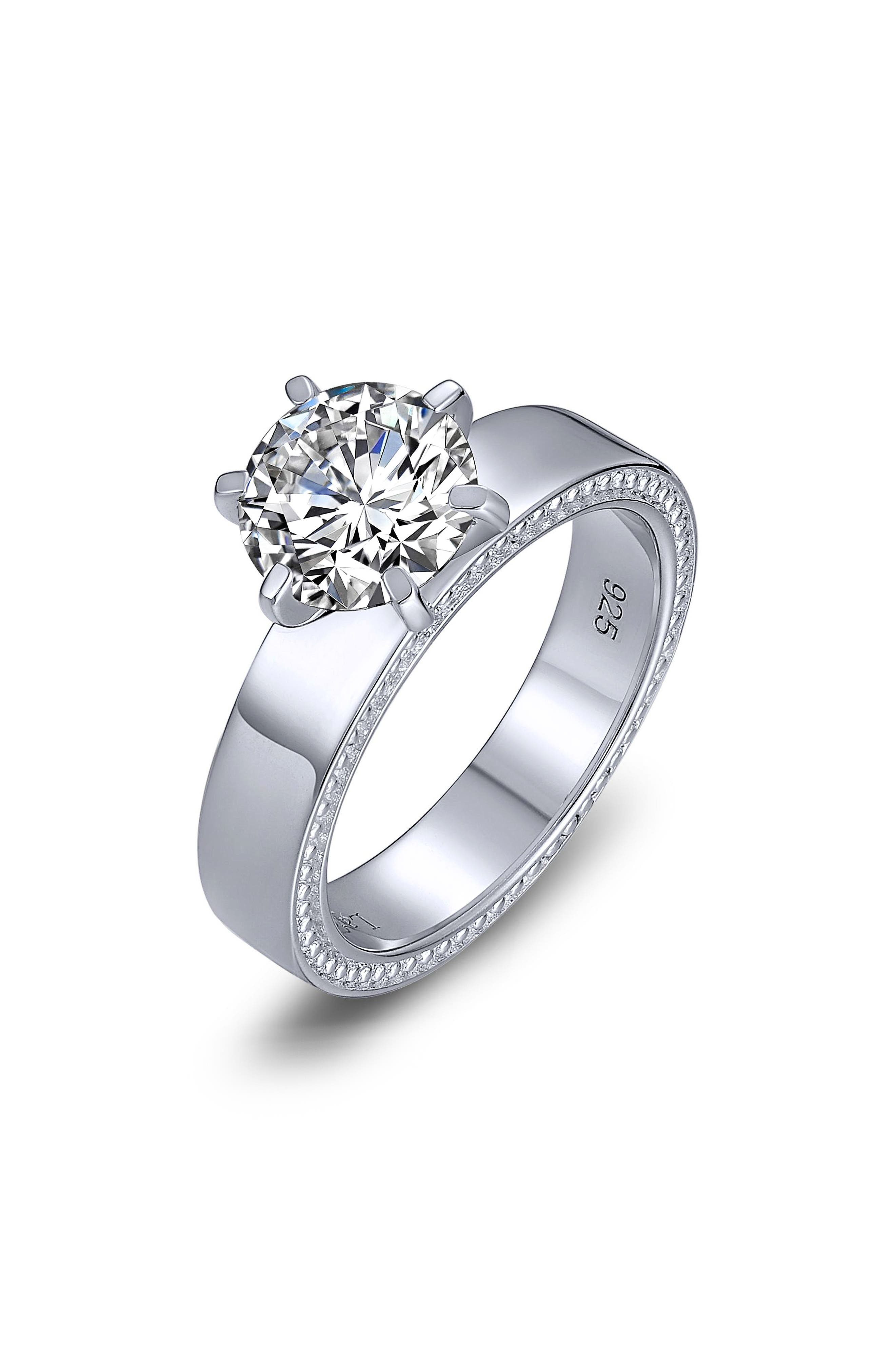 Simulated Diamond Solitaire Ring