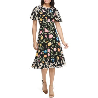 Maggy London Floral Crepe Fit & Flare Dress, Black