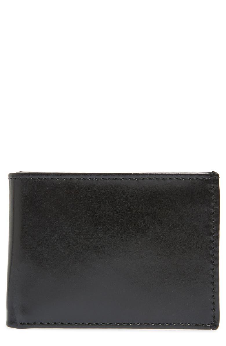 JOHNSTON & MURPHY Leather Super Slim Wallet, Main, color, BLACK FULL GRAIN LEATHER