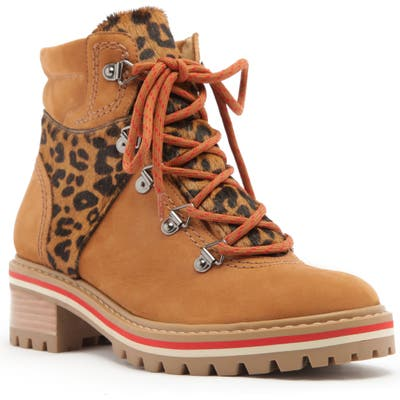Schutz Keida Leopard Print Genuine Calf Hair Trim Hiking Boot, Brown