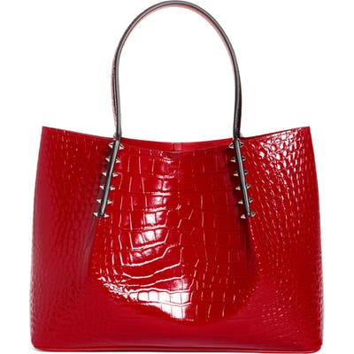 Christian Louboutin Small Cabarock Croc Embossed Calfskin Leather Tote - Red