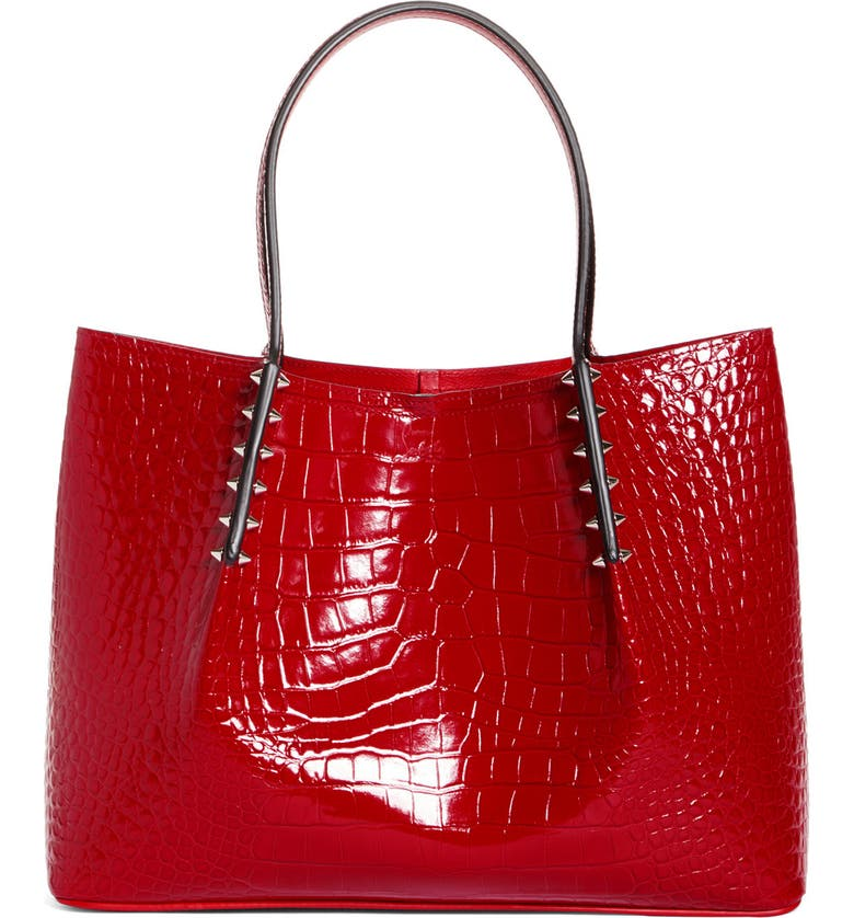 CHRISTIAN LOUBOUTIN Small Cabarock Croc Embossed Calfskin Leather Tote, Main, color, LOUBI
