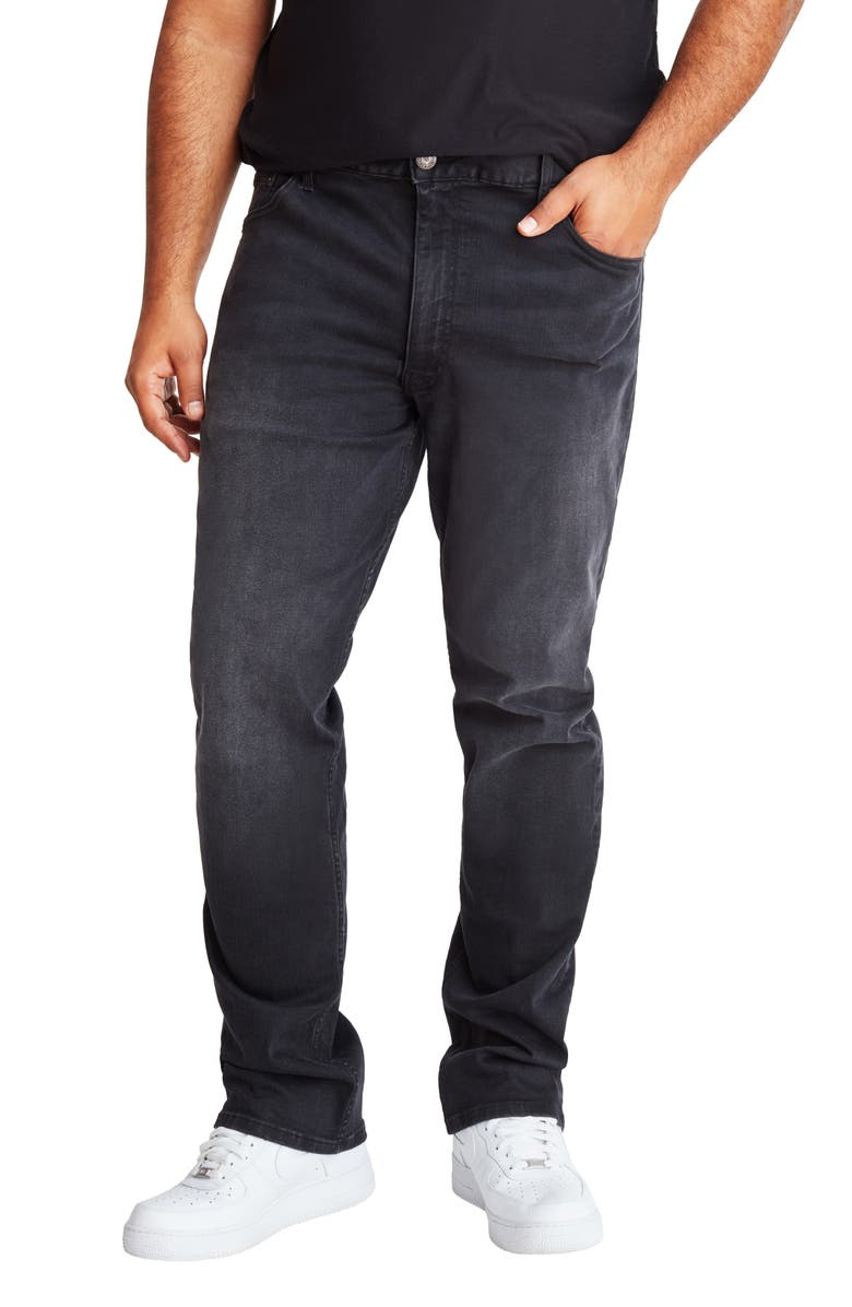 MVP COLLECTIONS Straight Leg Jeans, Main, color, BLACK RINSE VINTAGE WASH