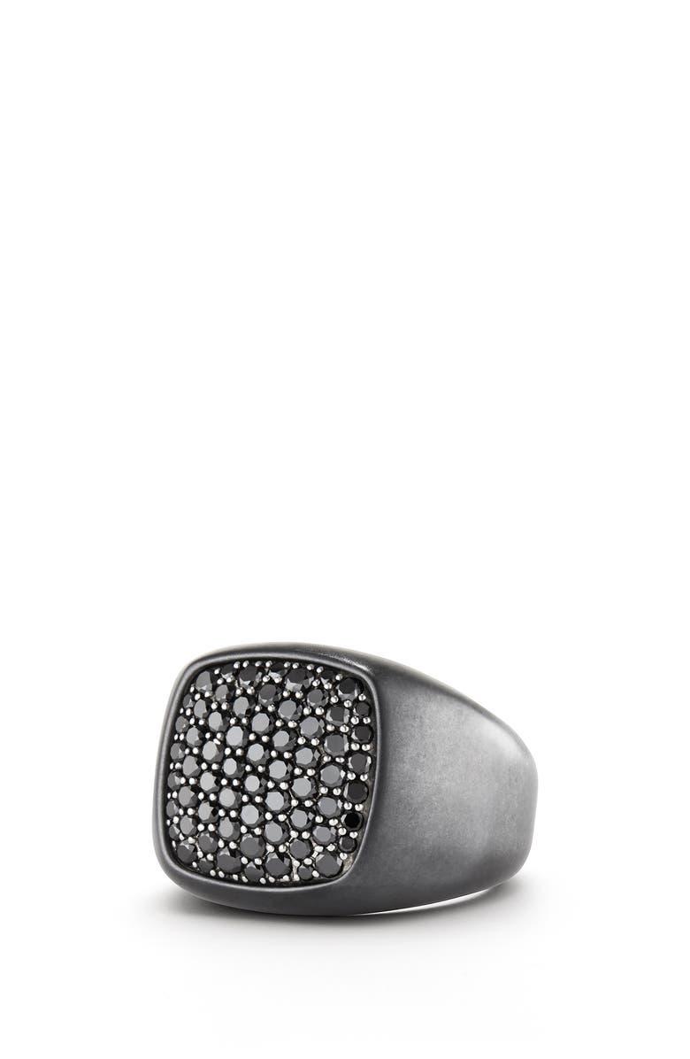 DAVID YURMAN Pavé Black Diamond Signet Ring, Main, color, SILVER/ BLACK DIAMOND
