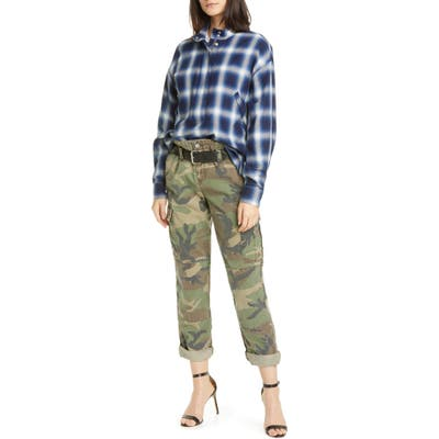 Rta Sallinger Belted Camo Cargo Pants, Green