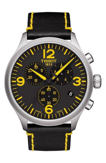 Image of Tissot Men's Chrono XL Classic Tour de France Edition Leather Strap Watch, 45mm