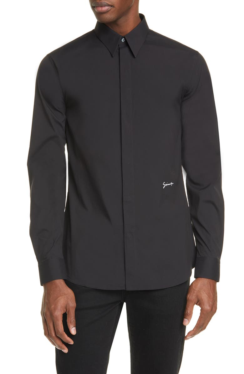GIVENCHY Signature Slim Fit Button-Up Shirt, Main, color, BLACK