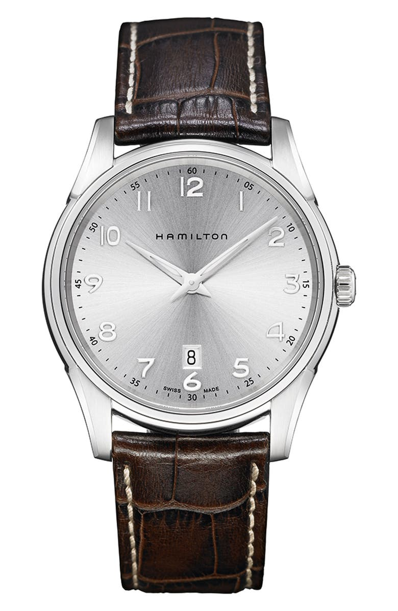 HAMILTON Jazzmaster Thinline Leather Strap Watch, 42mm, Main, color, 200