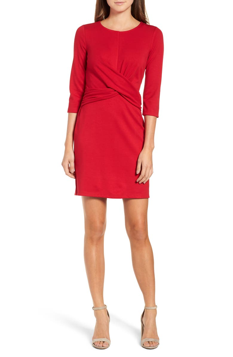 GIBSON Knot Front Stretch Knit Body-Con Dress, Main, color, 600