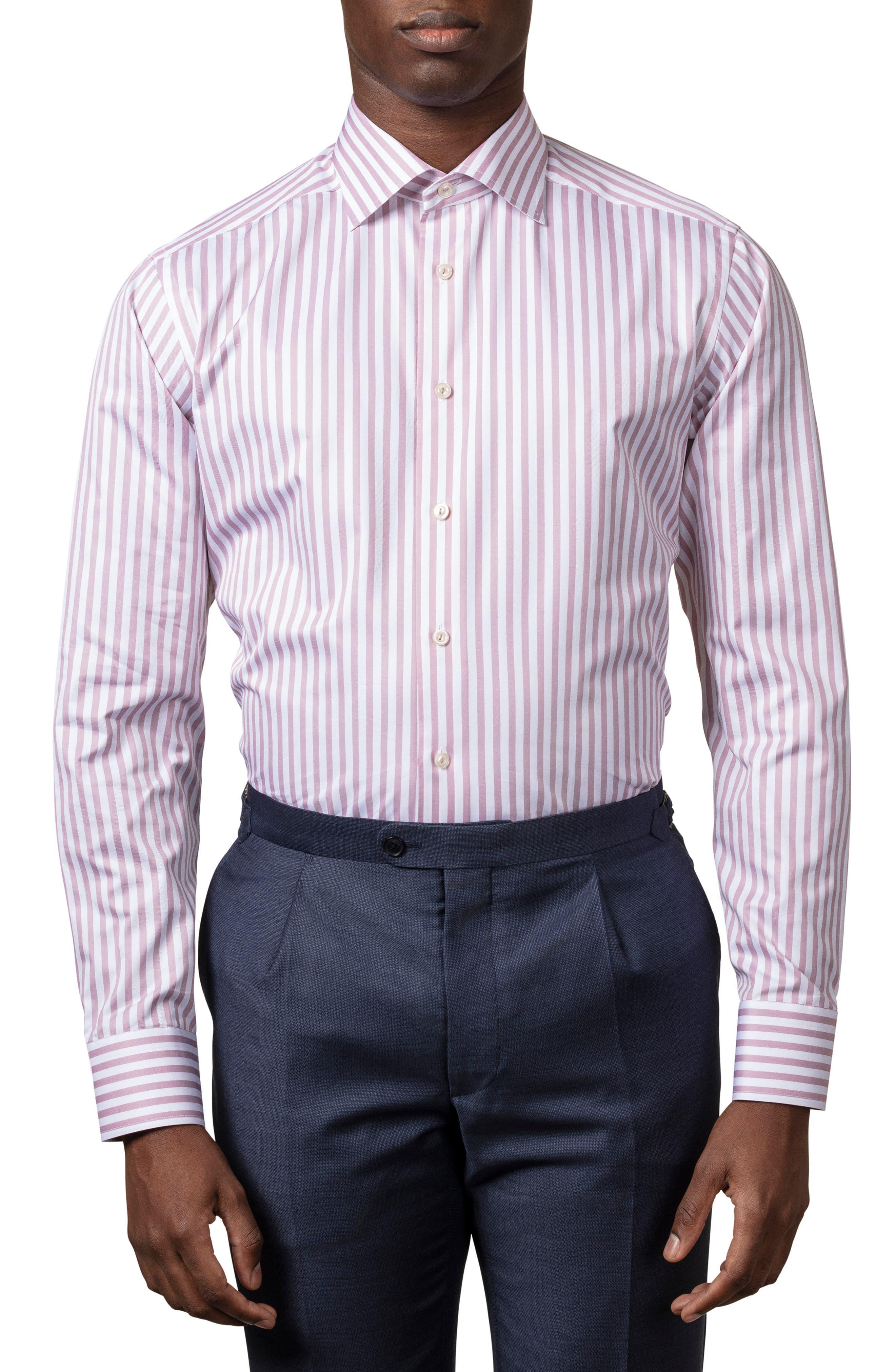 Image of Eton Stripe Print Long Sleeve Slim Fit Shirt