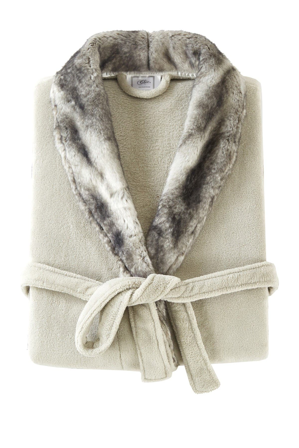 Chic Home Bedding Rolo Faux Fur Trim Robe - Grey at Nordstrom Rack
