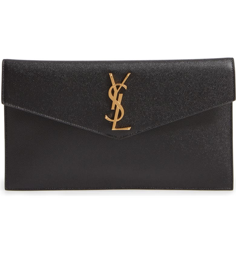 SAINT LAURENT Uptown Calfskin Leather Envelope Clutch, Main, color, 001