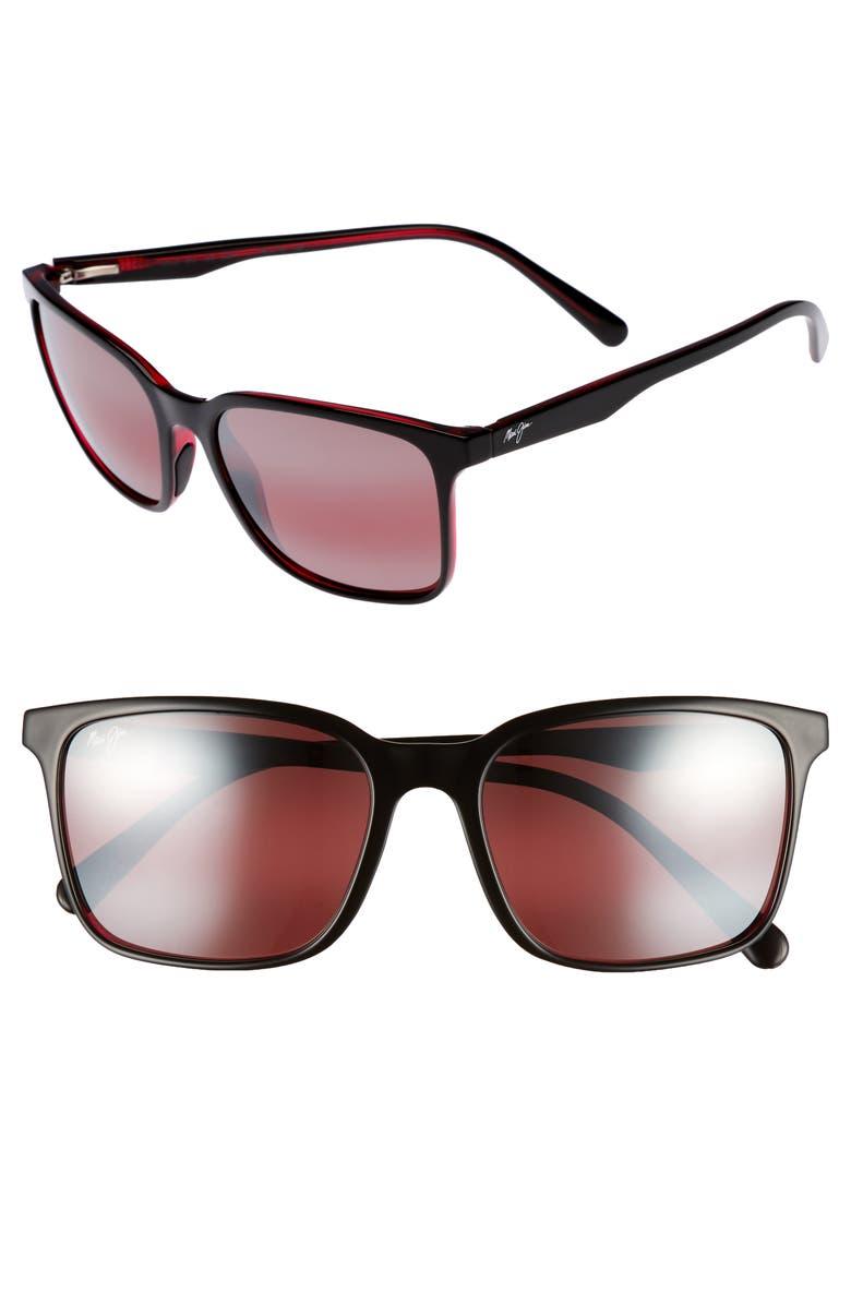 MAUI JIM Wild Coast 56mm Polarized Sunglasses, Main, color, BLACK WITH RED/ MAUI ROSE