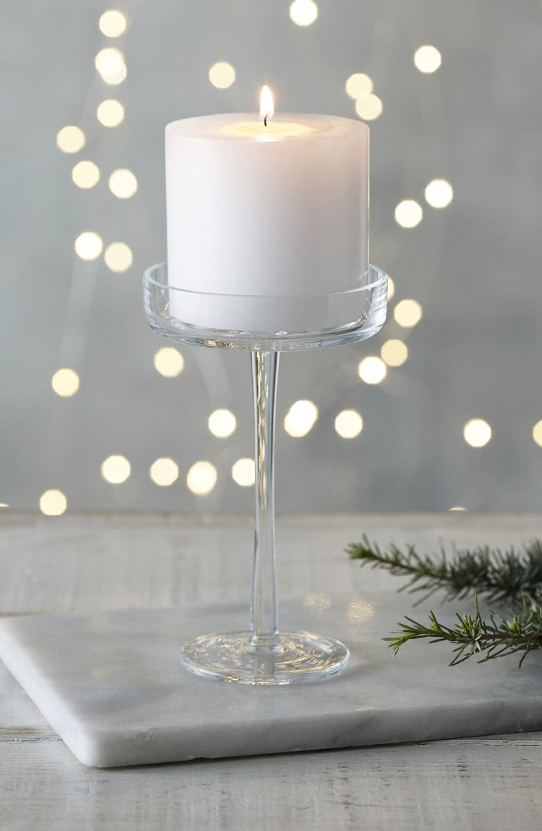 THE WHITE COMPANY Glass Pillar Candle Holder, Main, color, CLEAR