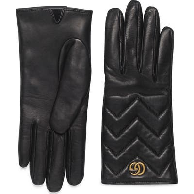 Gucci Gg Logo Cashmere Lined Quilted Leather Gloves, Black