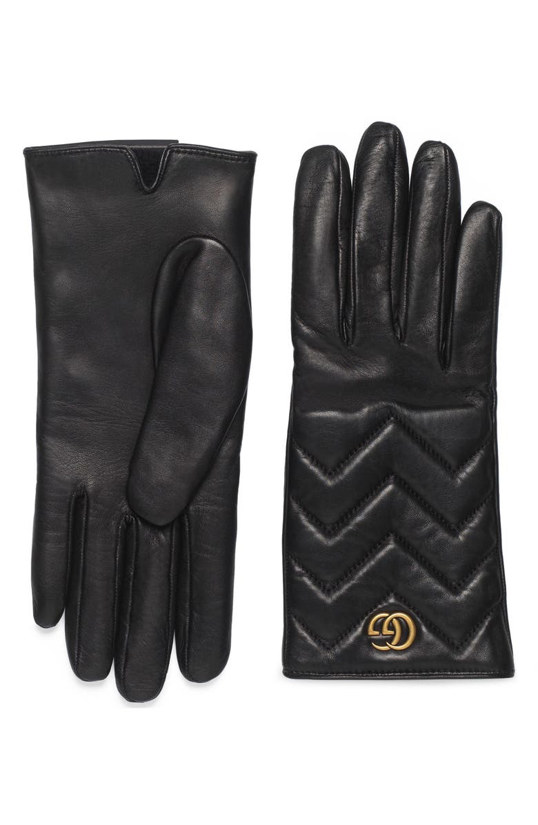 GUCCI GG Logo Cashmere Lined Quilted Leather Gloves, Main, color, NERO