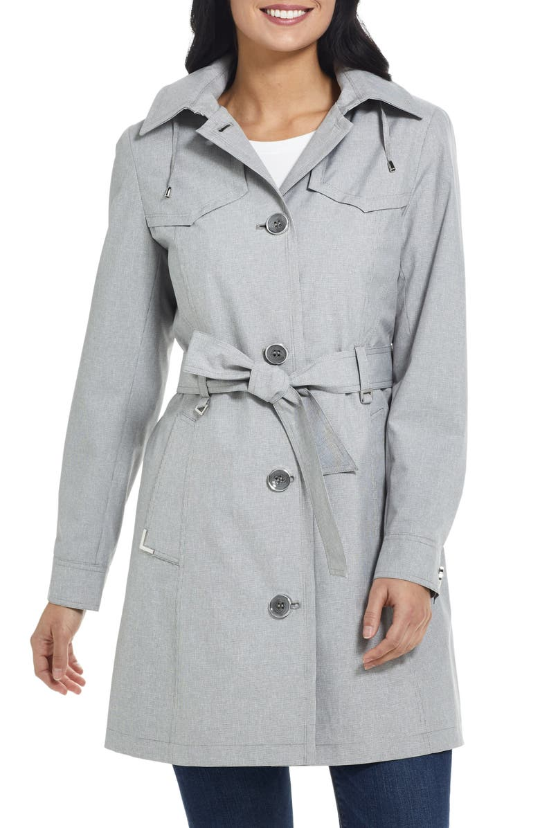 GALLERY Belted Trench Coat with Hood, Main, color, BLACK/ WHITE