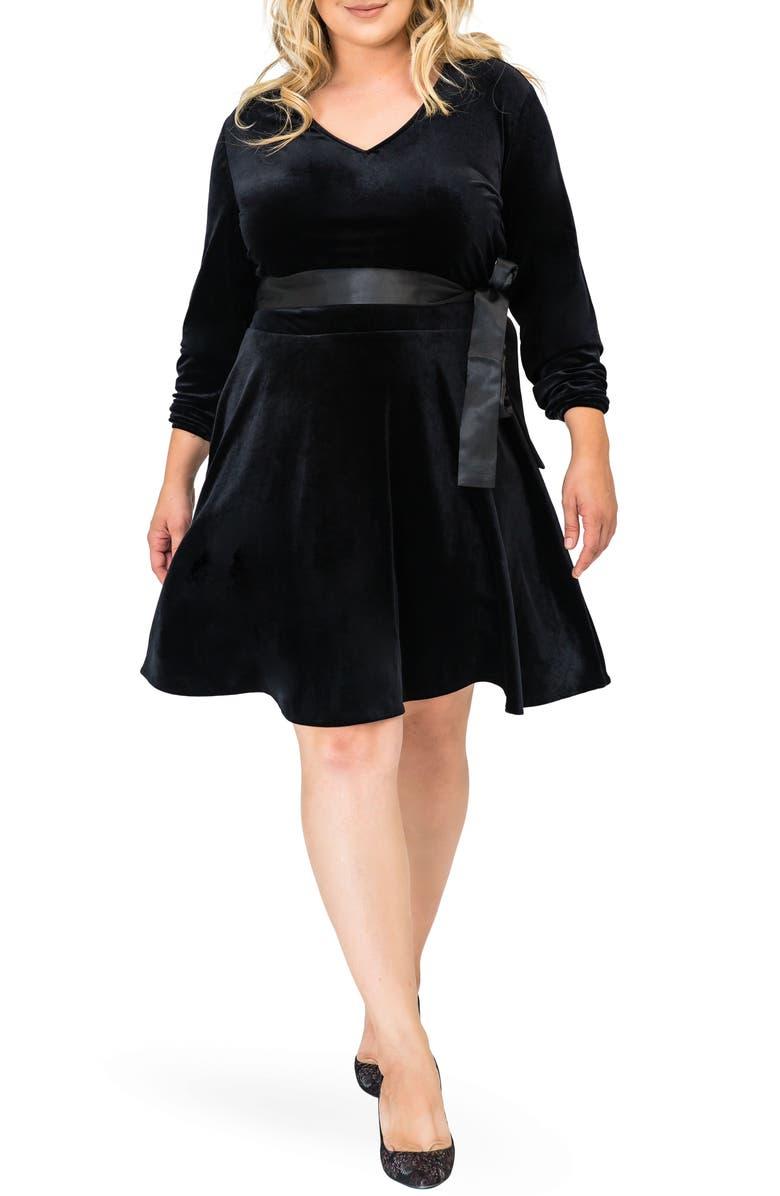 STANDARDS & PRACTICES Millie V-Neck Stretch Velvet Fit & Flare Dress, Main, color, BLACK