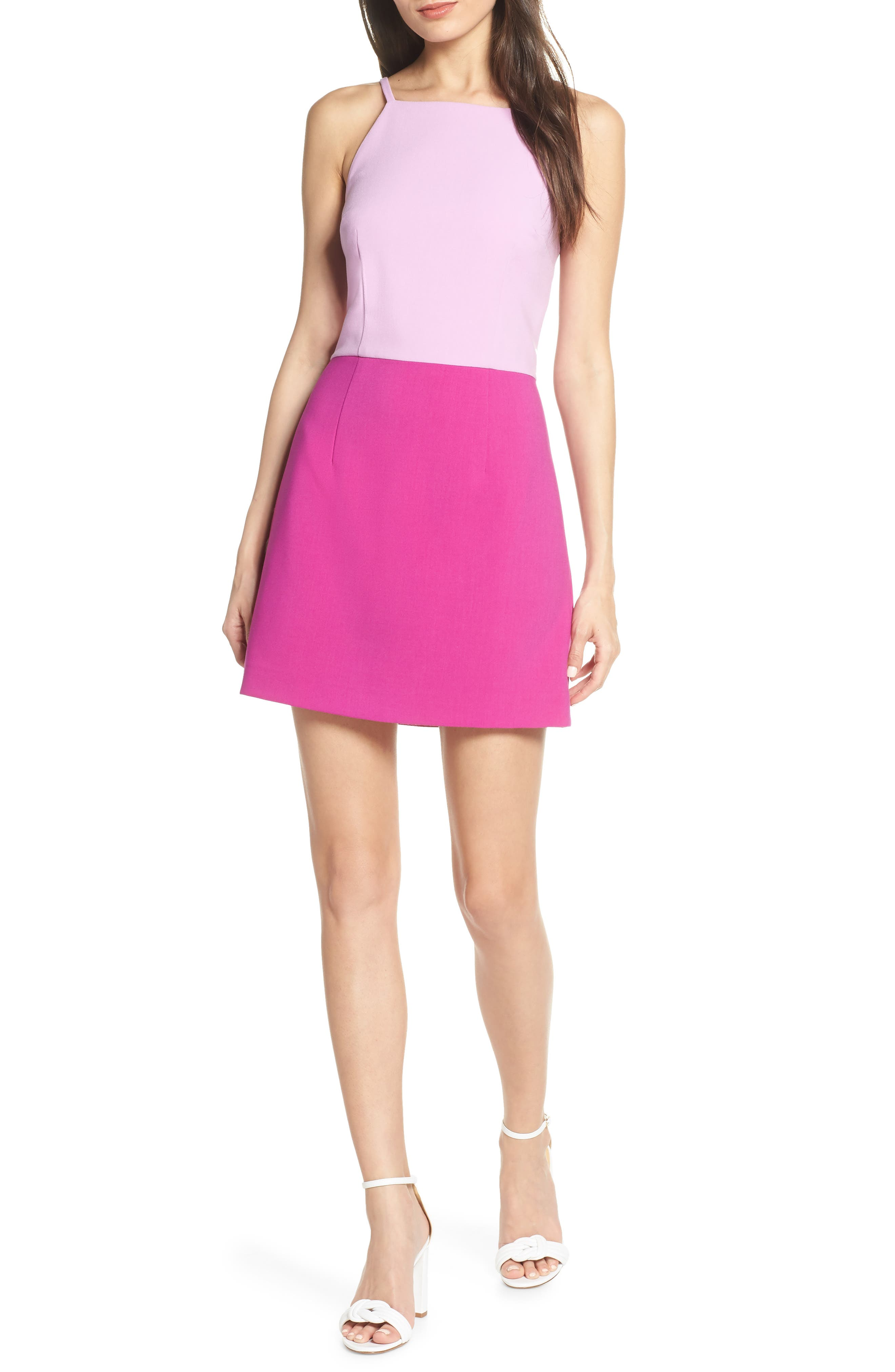 French Connection Whisper Colorblock Minidress, Purple