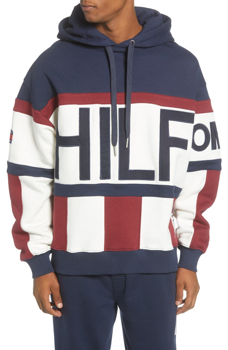 TOMMY JEANS TJM Heritage Stripe Hooded Sweatshirt, Main, color, BLUE