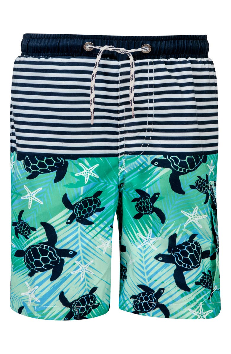 SNAPPER ROCK Turtle Swim Trunks, Main, color, ROYAL/ CORAL/ WHITE