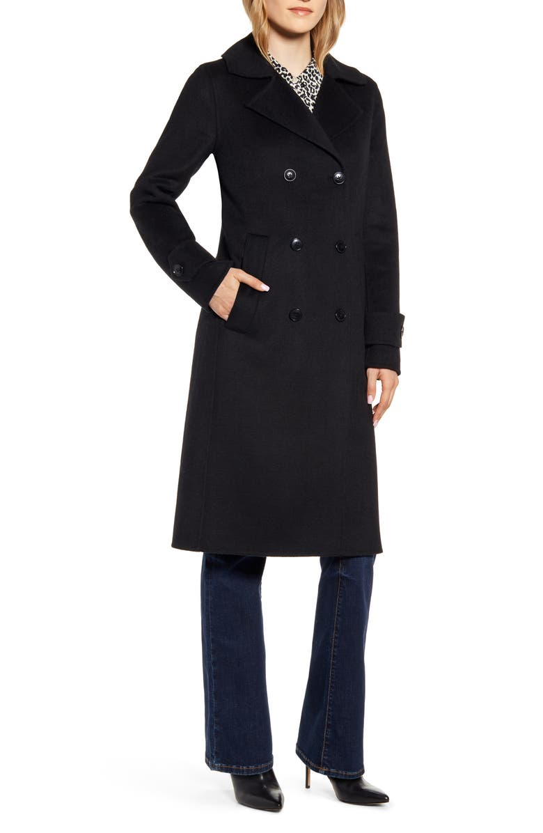 Kenneth Cole New York Double Breasted Wool Blend Coat